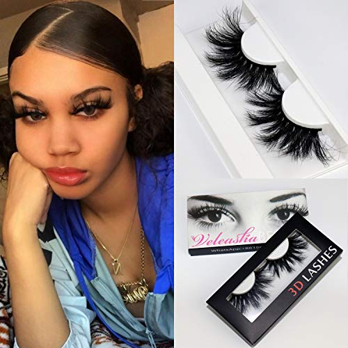Veleasha 25mm Long 3D Mink Eyelashes 100% Siberian Fur Dramatic Look Handmade Strip Lashes for Makeup (45A)/False Eyelashes