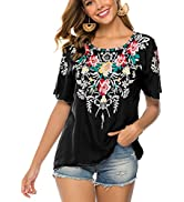 Higustar Women's Summer Boho Embroidery Mexican Bohemian Tops Shirt Tunic Blouses