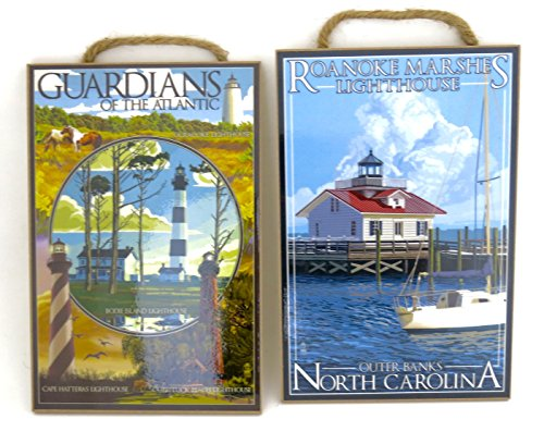Guardians of The Atlantic and North Carolina, Outer Banks Roanoke Marshes Lighthouse, Souvenir Sign , wood wall plaque size 10.5