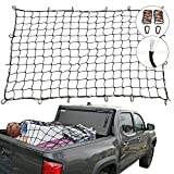 "Cargo Nets for Pickup Trucks, 4'X6' Latex Cargo Net Stretches to 8'x12', Universal Heavy Duty Truck Bed Net,16 Tangle-Free D Clip Carabiners, 4""x4"" Mesh Holds Small Large Loads Tighter"