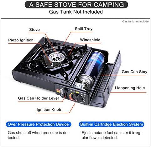 OneTigris ROCUBOID Estufa de le/ña Estufa de camping port/átil de acero inoxidable Estufa de camping de alcohol Bushbox para el senderismo Bushkraft Trekking Outdoor incl bolsa de almacenamiento