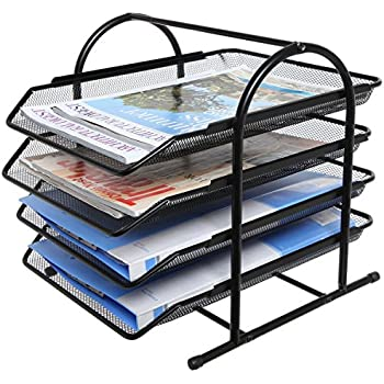 Amazon Com Black Metal Tier Office File Organizer Shelf Rack