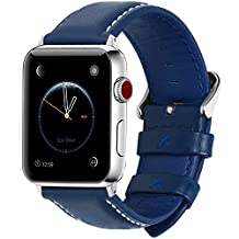 6 Colors Apple Watch Bands 42mm, Fullmosa Bosin Show Series Calf Leather Strap Replacement Band with Stainless Metal Clasp for Apple Watch Series 1 Series 2 Series 3,Dark Blue