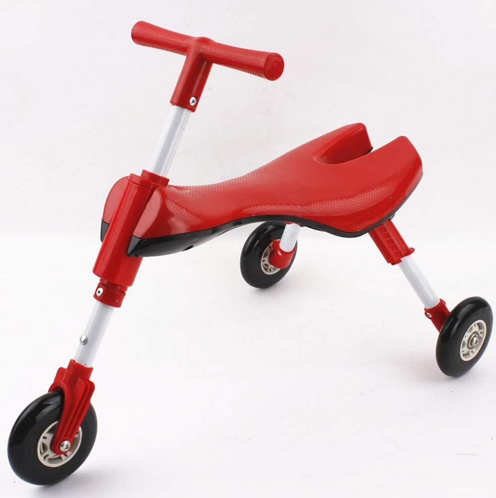 Wink zone 子供のための安全性と環境保護の材料スクーター、三輪設計、折りたたみ式、持ち運びが簡単 購入へようこそ ( Color : 赤 )