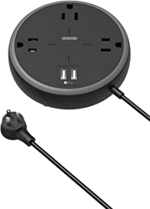 Power Strip with USB, NTONPOWER Flat Plug Power Strip with 3 Widely Spaced Outlets, 3 USB Charger, 5 FT Power Cord, Compact Size Charging Station for Home, Office, Dorm Essentials