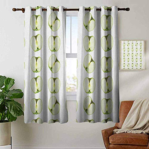 Kitchen Curtains Apple,Fresh Granny Smith Halves Farm Products Delicious Cut Food Orchard Yield, Pale Green Apple Green,Rod Pocket Drapes Thermal Insulated Panels Home décor 42