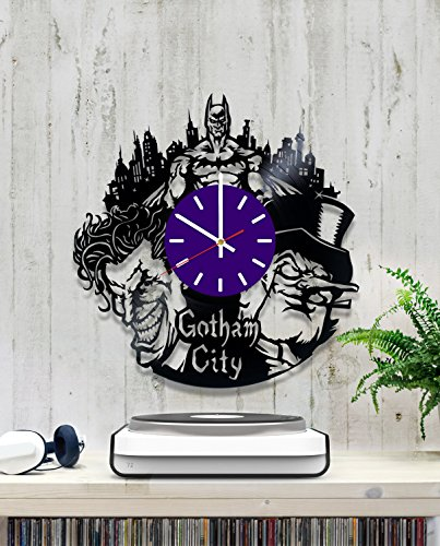 Batman Gotham City Vinyl Record Wall Clock - Contemporary and Creative Rest Room Wall Decor - Modern DC Comics Fan Art - Best Gift Idea For His and Her]()