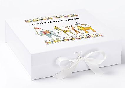 1st Birthday caja de recuerdos, selva desfile caja, primer cumpleaños, en caja,