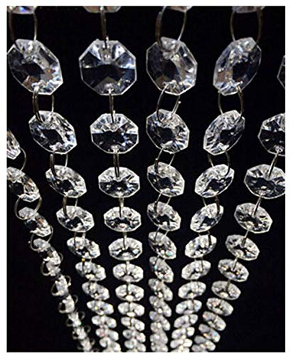 HOHIYA Acrylic Crystal Garland Decorations Hanging Strand Bead Chandelier Curtain Wedding Centerpieces Manzanita Wishing Home Birthday Party Craft Artificial Christmas Tree(Clear,pack of 3.3FTx9=30FT)
