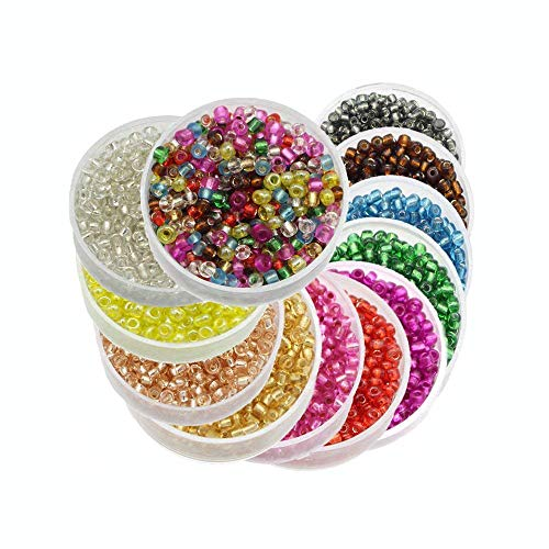 Glass Tube Beads - Approx 7200pcs 2mm Glass Seed Bugle Tube Beads Loose Bead Jewelry Findings (12colors/pack 600pcs/color) (Mixed colors 1)