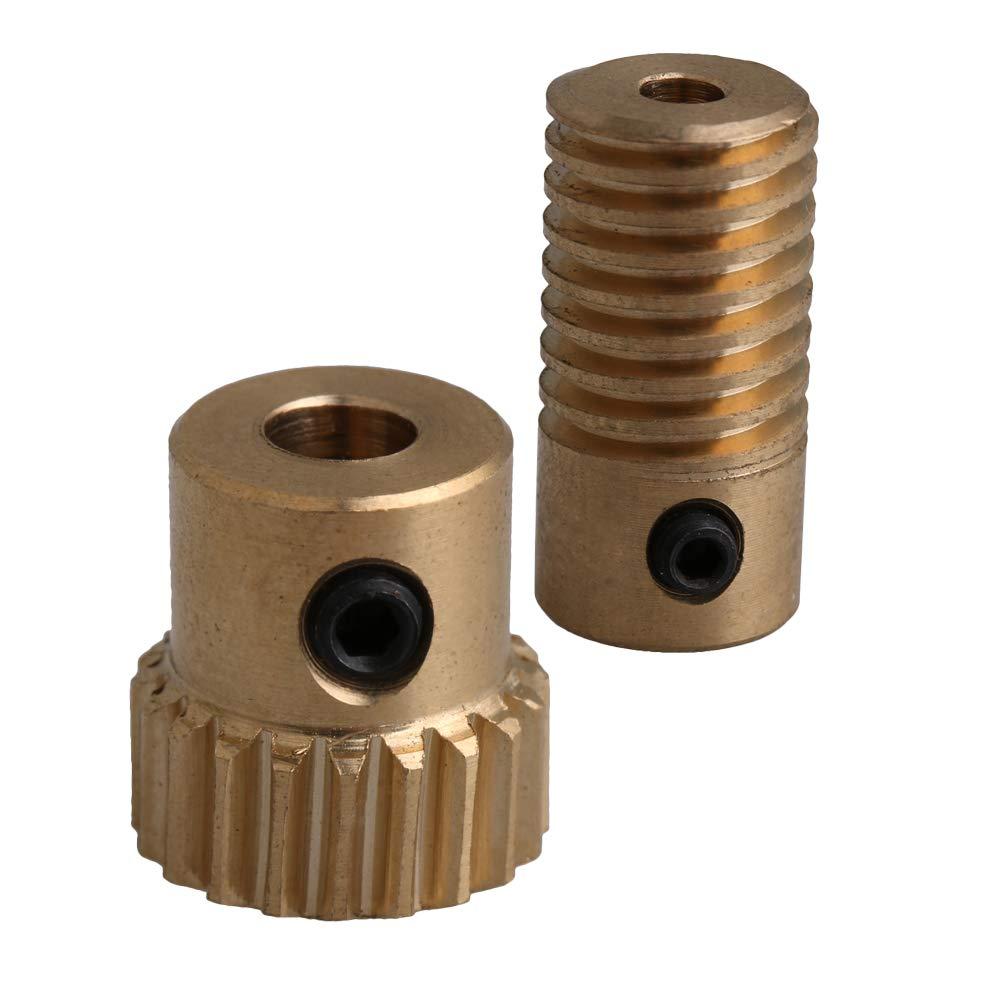 CNBTR Yellow 0.5 Modulus Compact Brass Worm Reducer 20 T Wore Gear Wheel + 3mm Bore Worm Gear Shaft yqltd M6180801063