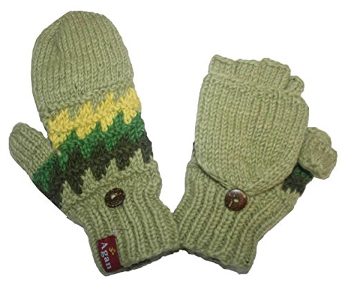 Green Wool Knit Ties (1415 G Unisex Hand Knit Wool Fleece Folding Chaal Mitten [Green Multi])