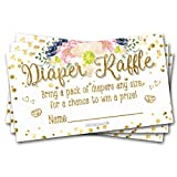 50 Diaper Raffle Tickets Gold Floral Brunch Baby Shower Theme - Gender Neutral Game Activity