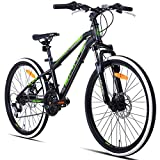 Hiland 24 26 Inch Mountain Bike with Suspension Fork/Disc Brake, 21 Speeds Shimano Drivetrain, Free Kickstand Included,Black&White Color