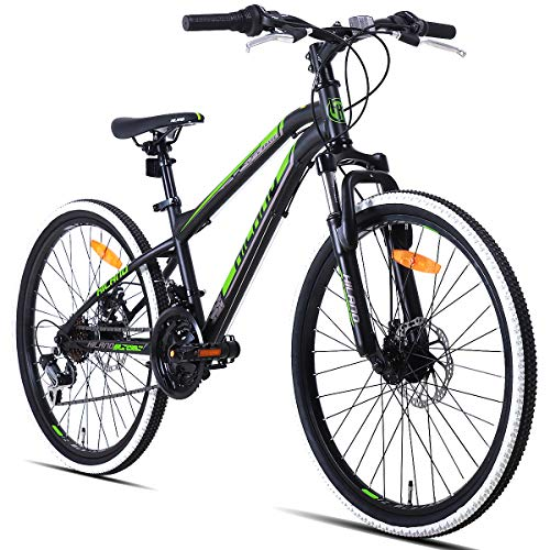 Hiland 24 Inch Mountain Bike for Boys and Girls, Children Teenager Youth Commuter Bicycle with Disc-Brake, Shimano 21 Speeds,Black