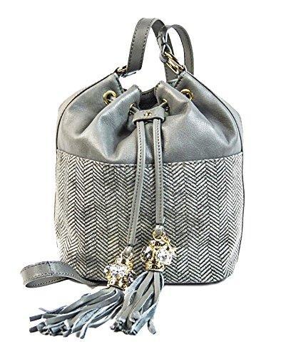 Borsa donna Collezione Argento Antico by Laino Industry fashion accessories - Borsa sacchetto pelle e tessuto
