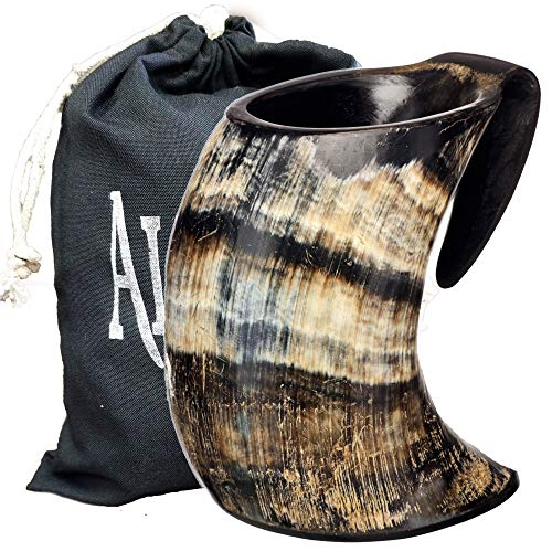 AleHorn – The Original Handcrafted Authentic Viking Drinking Horn Large Tankard for Beer, Mead, Ale – Medieval Inspired Stein Mug – Food Safe Vessel With Handle