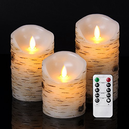 Good Electonic 4/5/6-Inch Drip-less Wax Pillar LED Dancing Flame Candles with 10-Key Remote Control, Birch, Set of 3 (Pillar Dripless Candle)