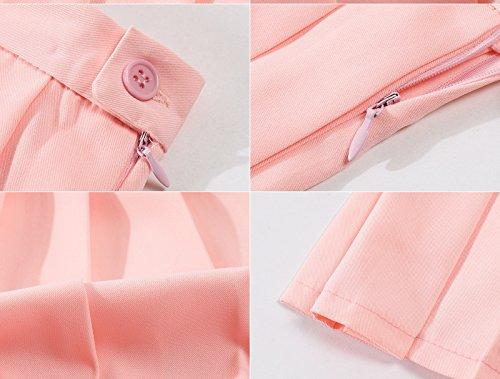 Beautifulfashionlife Mujer Talle Alto plisado Cosplay disfraces faldas de Japón Rosado