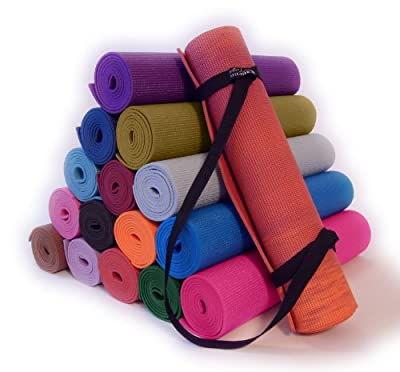 Bean Yoga Deluxe Yoga Mat + Mat Sling Kit, Extra Long and Thick Nontoxic Yoga Pilates Mat and Simple Looped Carry Sling