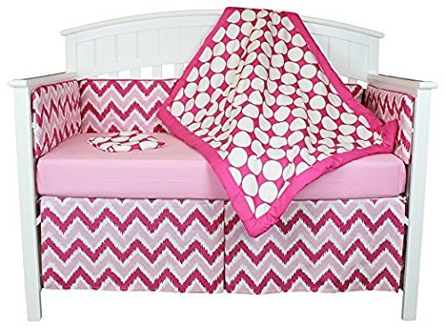 Bacati Chevron and Dots 8-in-1 Cotton Baby Crib Bedding Set with Bumper, Pink [並行輸入品]   B07GJFRPFL