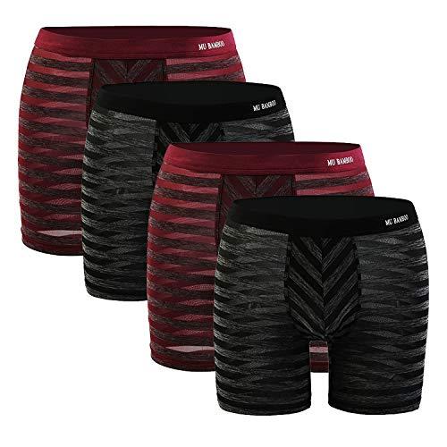 MU BAMBOO Thin Breathable Soft Boxer Briefs Plus Size Mens Boyshorts Multipack Trunks-Underwear