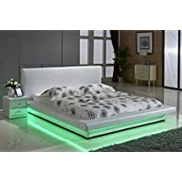 US Pride Furniture White Leather with LED Decoration Strip Light Contemporary Platform Bed, California King
