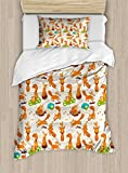 Ambesonne Yoga Duvet Cover Set Twin Size, Flexing and Stretching Fox Meditation Cute Little Cartoon Animals Dotted Background, Decorative 2 Piece Bedding Set with 1 Pillow Sham, Multicolor