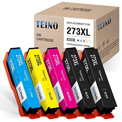 TEINO Remanufactured Ink Cartridges Replacement for Epson 273XL 273 T273XL for Expression Premium XP-610 XP-620 XP-820 XP-810 XP-800 XP-520 XP-600 (Black, Photo Black, Cyan, Magenta, Yellow, 5 Pack) (Epson Printer 810)