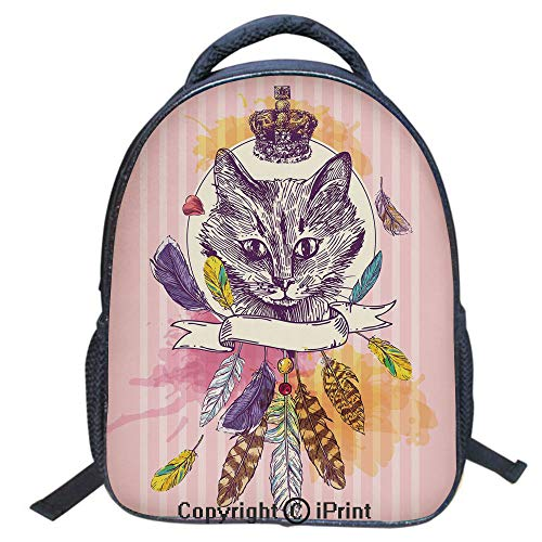 3D Print Backpack,Suitable for Kids,School Backpack,Book bags,Travel Hiking Bag Backpack Collection Bags for Teen Girls Kids,16 inch,Hand Drawn Head of Cat with Crown Sketchy Boho Ink Drawing Style Hi