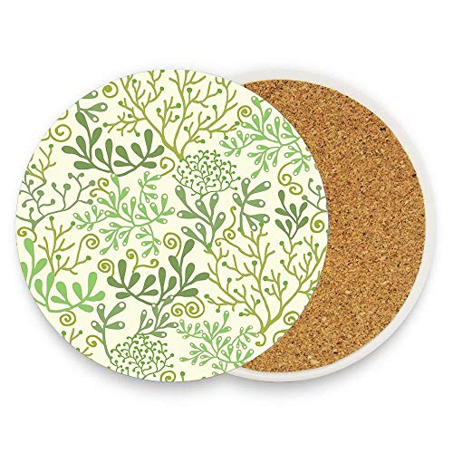 BeautyToiletLidCoverABC Green Underwater Seaweed Garden Pattern Round Absorbent Ceramic Stone Drinks Coaster Cup Mat for Home Office Bar Kitchen Pack Of 1