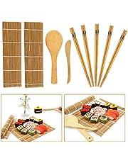 Bamboe Sushi Maken Kit 9 Stks, Beginner DIY Bamboe Rolling Mat voor Sushi, Inclusief 2 Bamboe Rolling Mats-5 Pairs Chopsticks-1 Rijstpaddle-1 Rijststrooier
