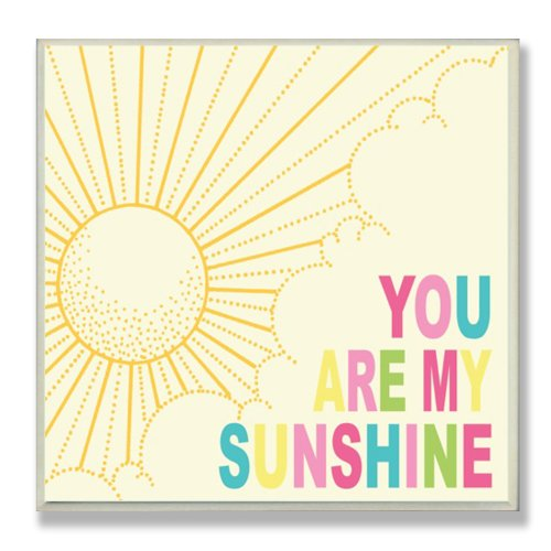 The Kids Room by Stupell You Are My Sunshine Rainbow Typography Square Wall Plaque, 11 x 0.5 x 15, Proudly Made in USA by The Kids Room by Stupell