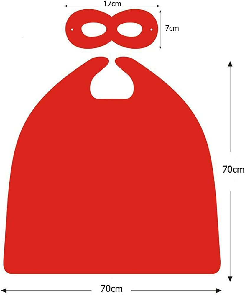 Reversible 27.5 Kids Superhero Cape with Felt Mask Set for Boys Girls Dress up Costumes Halloween Birthday Party Favors