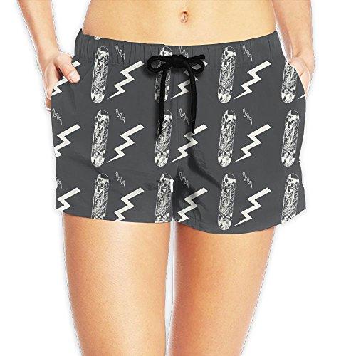 WEIWIFI Skateboard Quick-Drying Hot Pants Tropical Beach Shorts for Girl Women
