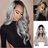 Dreambeauty Synthetic Long Gray Wigs for Black Women Cosplay 1B Ombre Silver Grey Thin Skin Front Wigs Middle Part 18inch