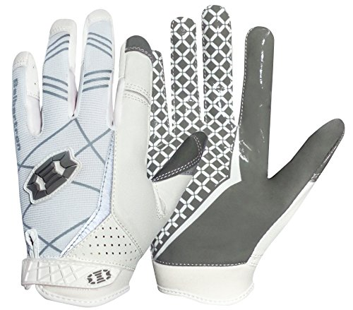 Seibertron Pro 3.0 Elite Ultra-Stick Sports Receiver Glove Football Gloves Youth and Adult (White, XL)