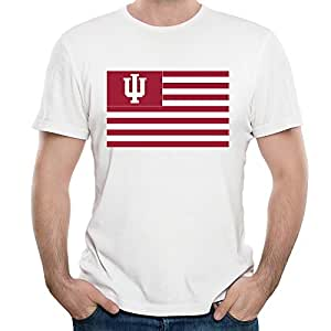 Sasha Men's Indiana Hoosiers Flag T-shirt L White