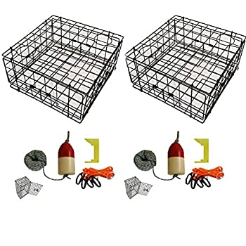 Image of 2-Pack of KUFA Vinyl Coated Crab Trap & Accessory kit (100' Lead Core Sinking line,Clipper,Harness,Bait Bag & 11' Float) (S60+CEQ1) x2 Canoes
