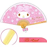My Melody Lace Trim Polyester Fabric Folding Fan with Pendant