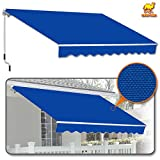 Strong Camel 8' x 6.6' Manual Yard Retractable Patio Deck Awning Cover, Canopy Sunshade (Blue)