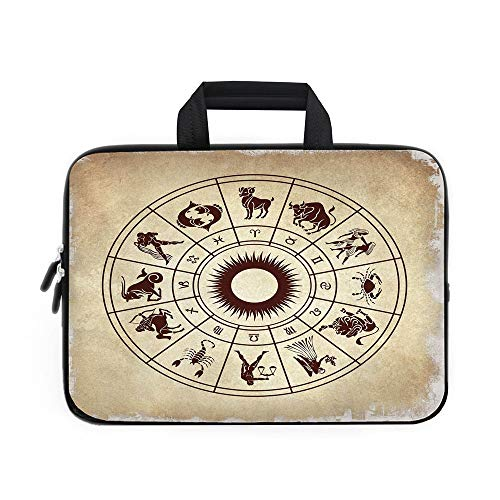 Wheeled Bag Icon Computer (Zodiac Decor Laptop Carrying Bag Sleeve,Neoprene Sleeve Case/Wheel of Horoscope Icons on Distressed Backdrop Cosmos Occult Print Artwork/for Apple Macbook Air Samsung Google Acer HP DELL Lenovo AsusBr)