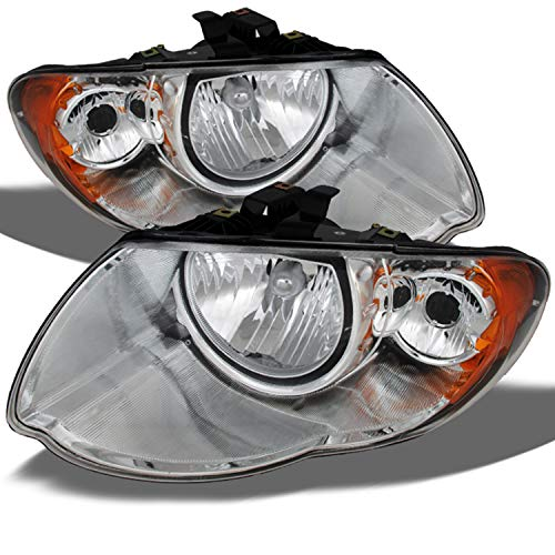(For Chrysler Town & Country OE Replacement Chrome Bezel Headlights Driver/Passenger Head Lamps Pair New)