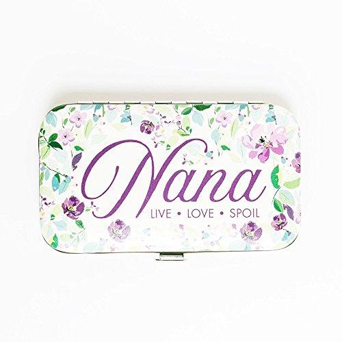 Nana Live Love Spoil Purple Floral Vegan Leather 6 Piece Manicure Set