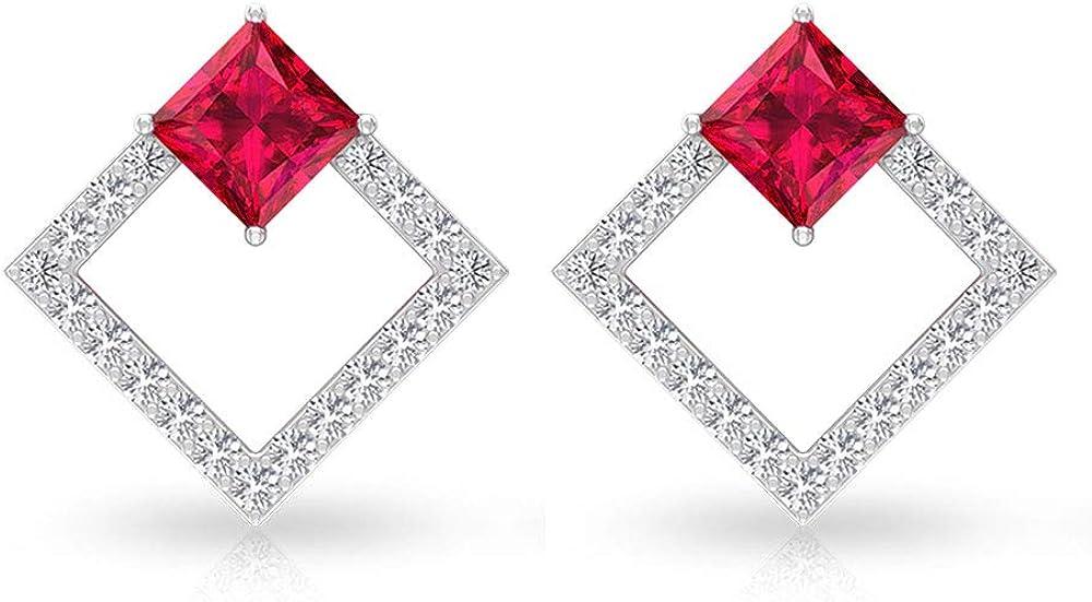 Pendiente de diamante con certificado IGI, diseño de princesa, de 1.19 quilates, color rojo, con piedra de nacimiento de julio, abierto, cuadrado, para novia, boda, madre, tornillo hacia atrás