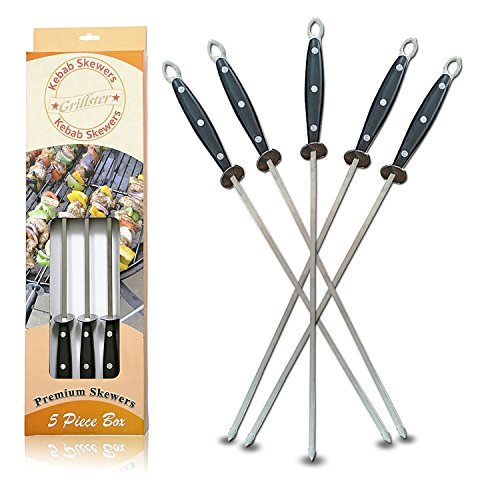 Skewers 17' - Stainless Steel, Metal, Flat, Durable, Re-Usable Unlike Bamboo, Wide, Shish Kebab, Kobab, Kabob, Red Meat, Chicken, Fish, Veg, Fruits For Barbecue, BBQ, Stick (5 Pieces) by Grillster