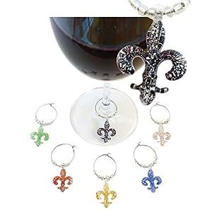 Bella Vita - Fleur De Lis - Glass Wine Charms