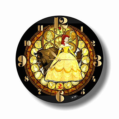 Beauty and The Beast 11.8'' Handmade Art Wall Clock - Get Unique décor for Home or Office - Best Gift Ideas for Kids, Friends, Parents and Your Soul Mates - Made of Plastic