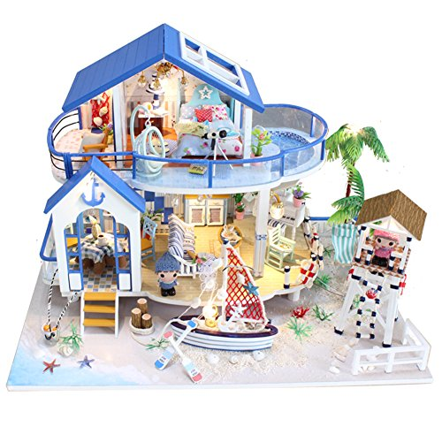 DIY Dollhouse Miniature Furniture Kit with LED Light Handmade Dollhouse For Gift (Legend of the Blue Sea - House Blue Sea