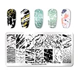 NICOLE DIARY Nail Stamping Plates Rectangle Nail Art Stamp Image Template Stencil Design 076
